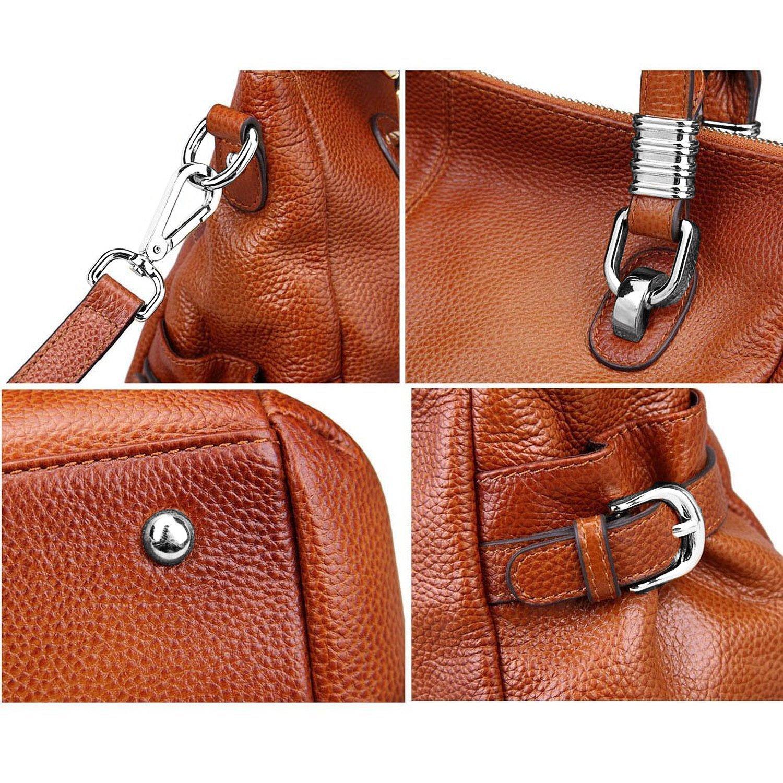 S-ZONE Women's Vintage Genuine Leather Tote Shoulder Bag Top-handle Crossbody Handbags Ladies Purse (Brown) by S-ZONE (Image #7)