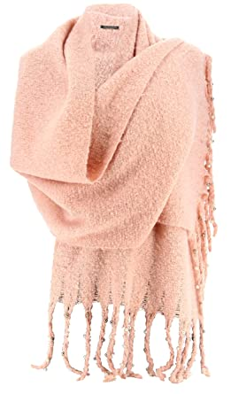 cfd5bd53a5359 Charleselie94® - Grosse écharpe femme hiver laine perles rose tendre VIENNE  ROSE