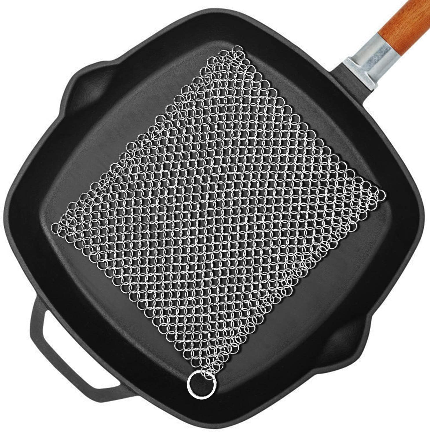 "Amagabeli 8"" x 8"" 316 Stainless Steel Cast Iron Cleaner Chainmail Scrubber for Cast Iron Pan Skillet Cleaner for Dishes Glass Pre-Seasoned Cast Iron Pot Seasoning Protection Cookware Accessories"