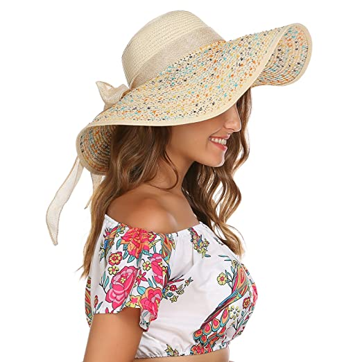 643e58ae Zeagoo Bowknot Foldable Floppy Wide Brim Beach Hat UV Protection Beige One  Size