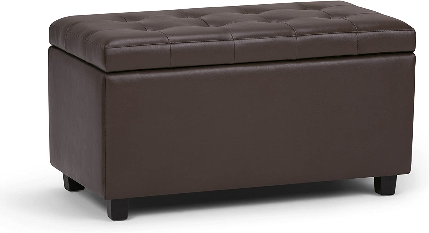 Simpli Home Cosmopolitan 34 inch Wide Rectangle Lift Top Storage Ottoman in Upholstered Chocolate Brown Tufted Faux Leather, Footrest Stool, Coffee Table for the Living Room, Bedroom and Kids Room