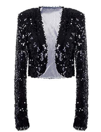 42dc94745c855 kayamiya Womens Sequin Jacket Long Sleeve Glitter Cropped Bolero Shrug   Amazon.co.uk  Clothing