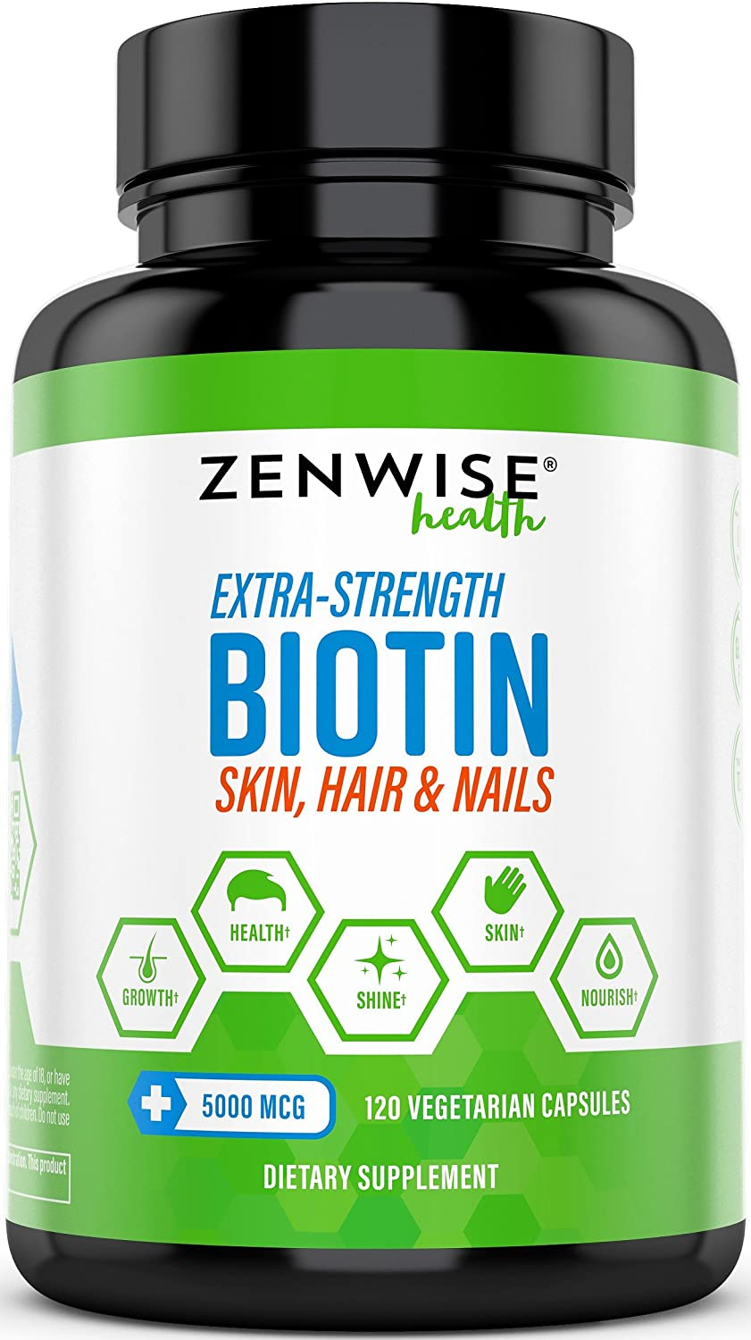 Biotin 5000 MCG – Extra Strength Hair Growth Support – Promotes Thicker, Fuller Shinier Looking Hair – Vitamin B7 Skin Nail Health Supplement – for Energy Metabolism – 120 Vegetarian Capsules