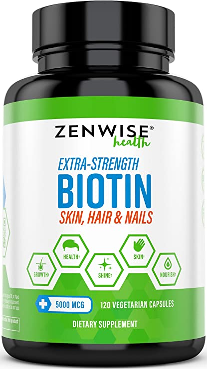 Biotin 5000 Mcg Extra Strength Hair Growth Support Promotes Thicker Fuller Shinier Looking Hair Vitamin B7 Skin Nail Health Supplement
