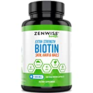 Biotin 5000 MCG - Extra Strength Hair Growth Support - Promotes Thicker, Fuller & Shinier