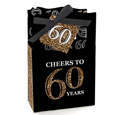 Adult 60th Birthday - Gold - Birthday Party Favor Boxes - Set of 12: Toys & Games