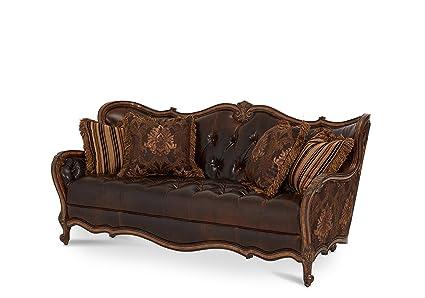 Amazon.com: Michael Amini Lavelle Leather/Fabric Sofa, Melange ...