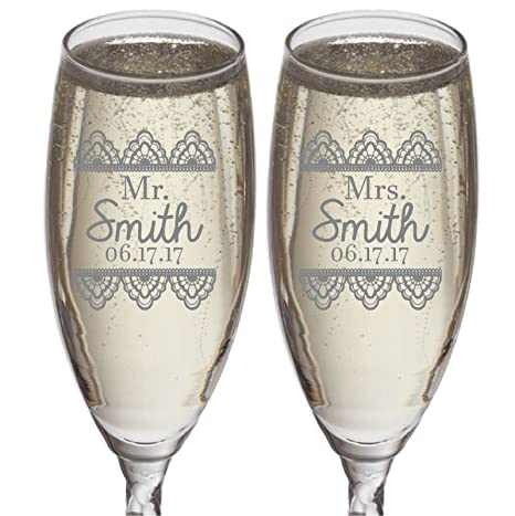 Amazon Set Of 2 Personalized Wedding Gift Champagne Flutes