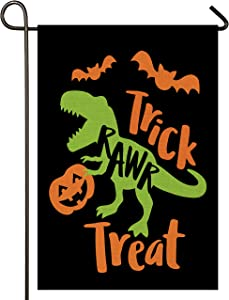 Atenia Halloween Burlap Garden Flag, Double Sided Happy Halloween Garden Fall Outdoor Yard Flags for Autumn Decor (Trick RAWR Treat)
