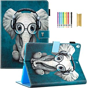 Dteck Case for Apple iPad Air (3rd Generation) 2019 & iPad Pro 2017 Tablet (10.5 Inch) - Adjustable Stand Smart Leather Shockproof Slim Cute Cover with Pencil Holder /Auto Sleep Wake (Music Elephant)