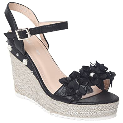 0daea2124da Shop Online Ladies Sandals Beads Diamante Patent Flower HIGH Wedge Sandal  Summer Fashion Evening Shoes Espadrille Gladiator Womens Ankle Buckle  Fastening ...