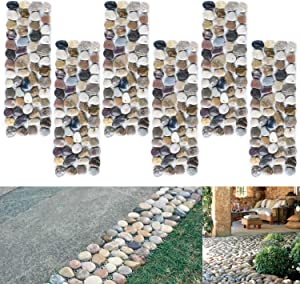 SUNFACE River Rock Stepping Stones Pavers Outdoor for Garden, Set of 6 (Rectangle)