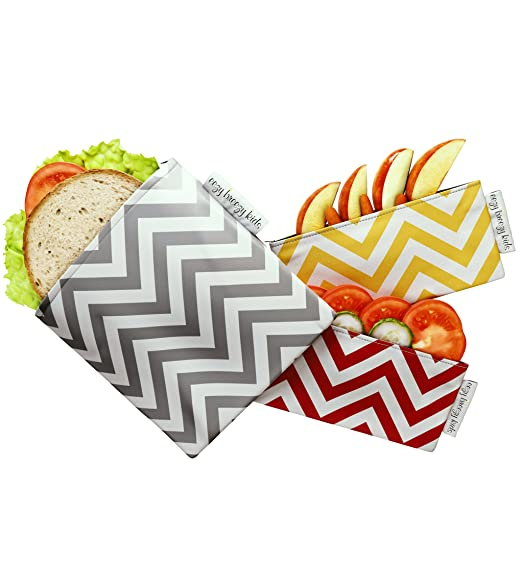 The Original Snack & Sandwich Bags. Reusable and Multipurpose Cloth Bags. Washable, Food Safe, Environmentally Friendly (Red & Yellow)