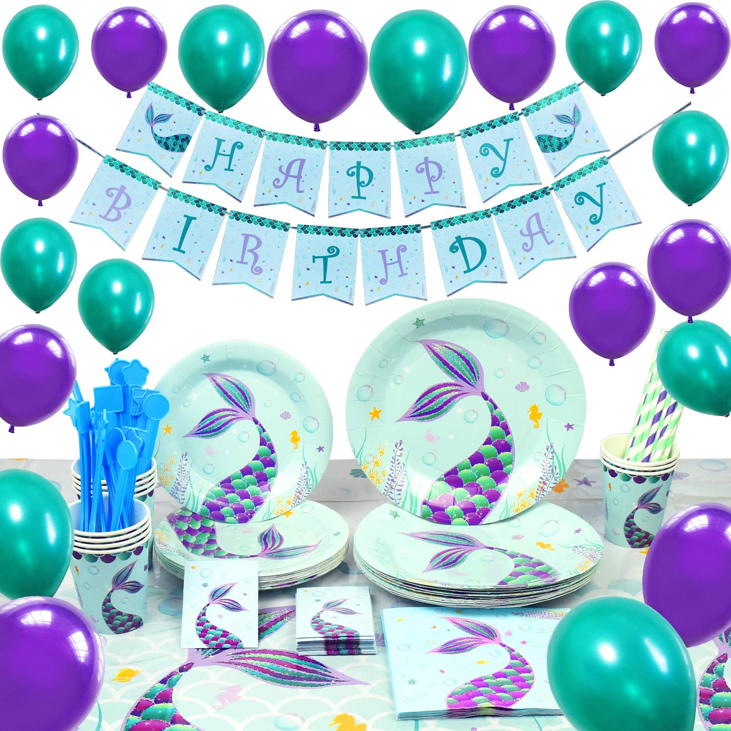 WERNNSAI Pool Mermaid Party Supplies Kit - Party Favors Girls Birthday Party Decoration Cutlery Bag Table Cover Plates Cups Napkins Straws Utensils Birthday Banner & Balloons Serves 16 Guests 169 PCS by WERNNSAI (Image #1)