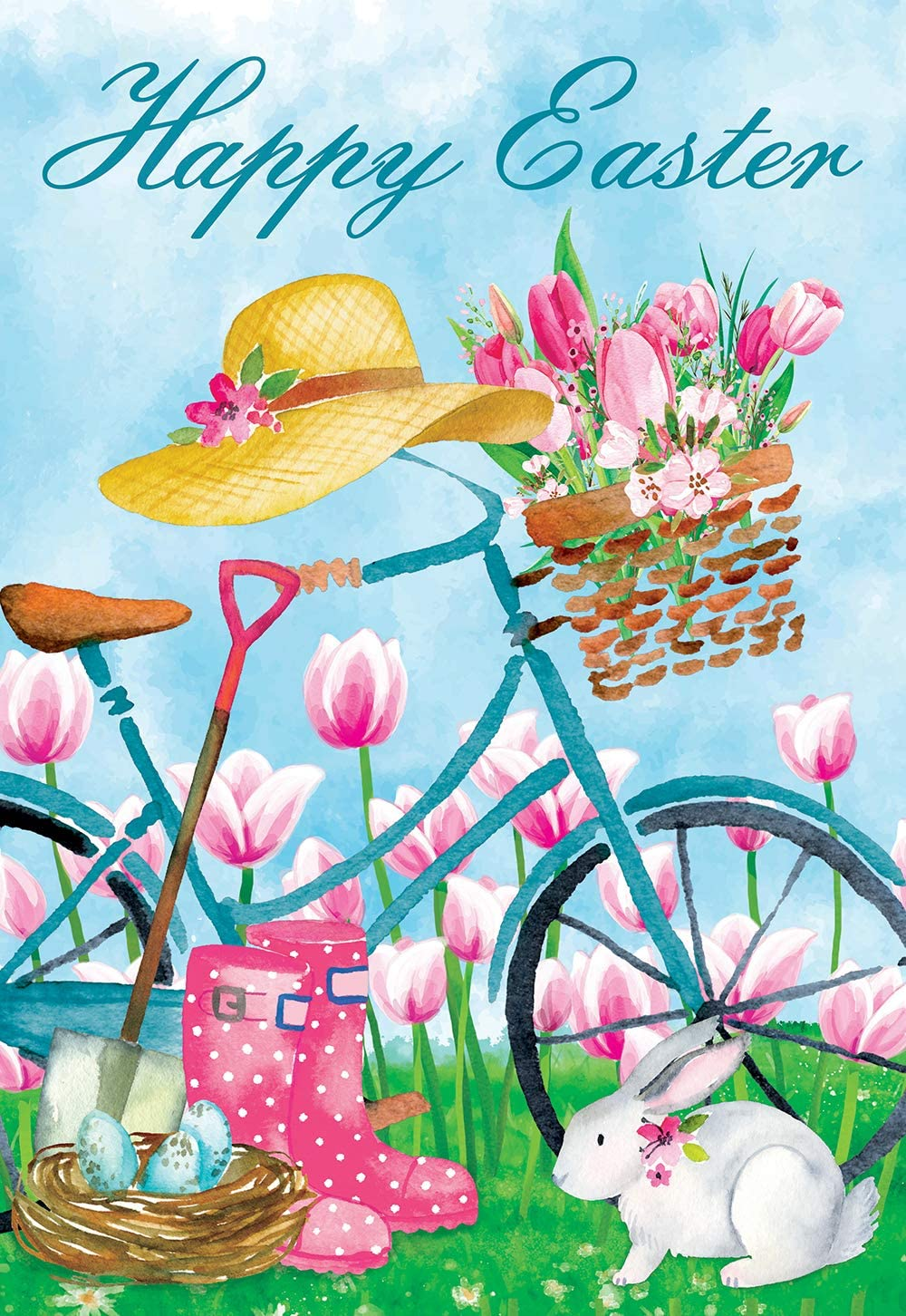 "Texupday Happy Easter Bicycle with Cute Bunny Tulips Decoration Spring Garden Flag Outdoor Yard Flag 12"" x 18"""