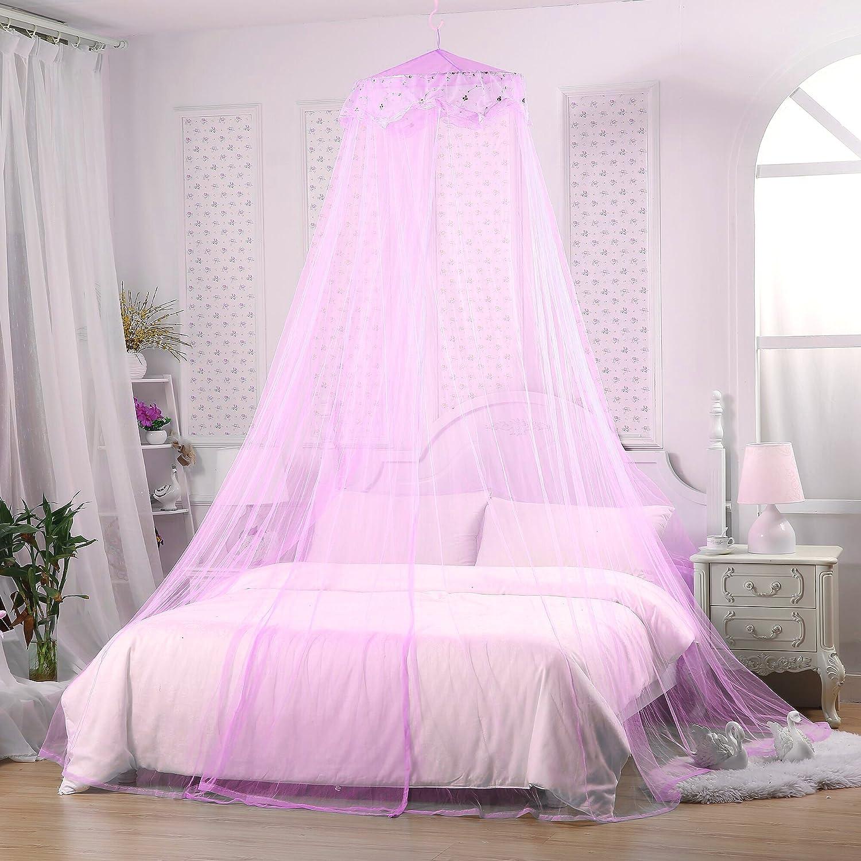 Jeteven Moustiquaire Dôme Polyester Ciel de Lit Princesse Moustiquaire Bébé Dentelle Décor Lit Hauteur 240cm Violet