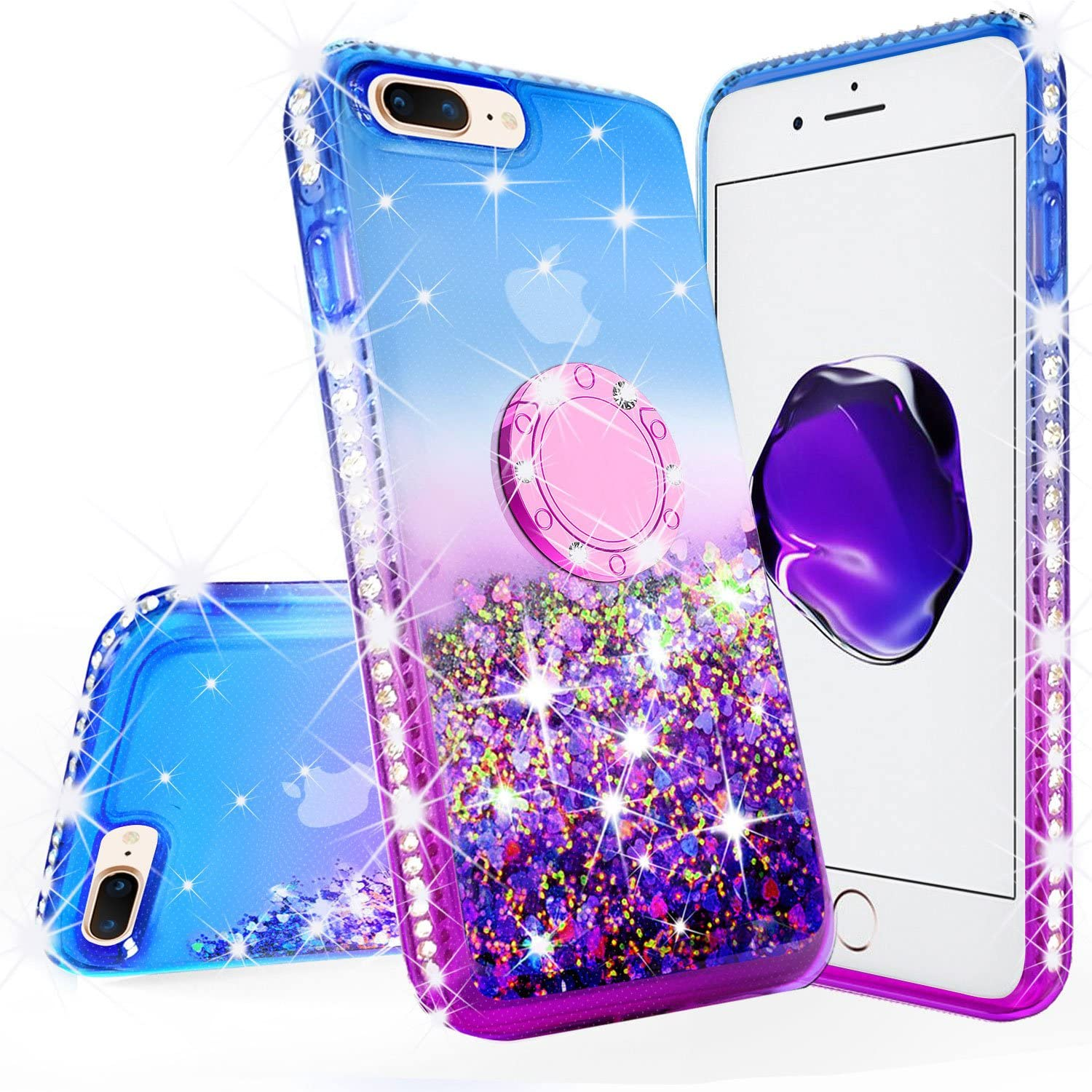 Galaxy Wireless New iPod Touch Case,iPod Touch 5th/6th/7th Generation Case Liquid Glitter Quicksand Bling Sparkle Diamond Ring Stand Cases Compatible for Apple iPod Touch 5/6/7,Purple/Blue