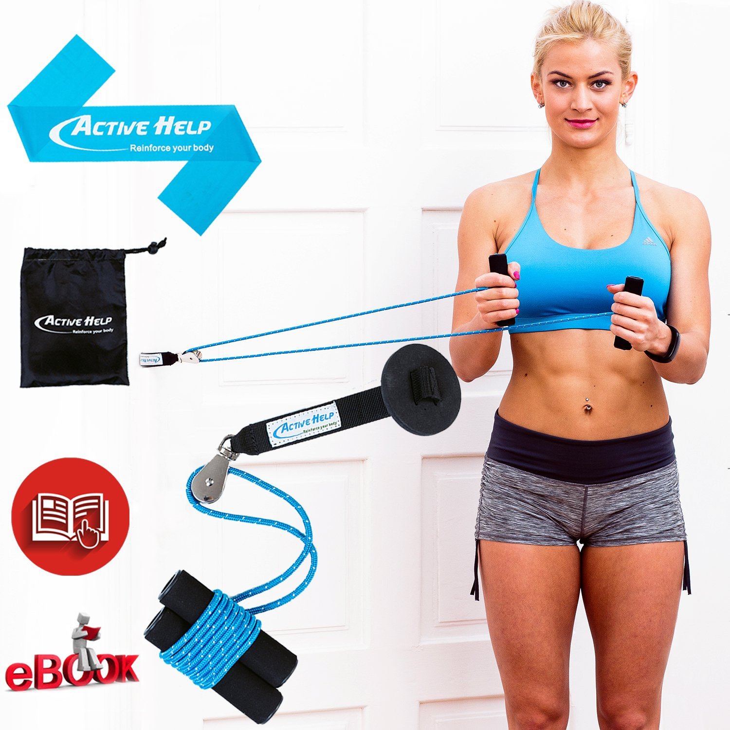Shoulder Pulley Therapy Bundle - Home Exercise Over Door Pulleys System to Increase Range of Motion, Strength & Recovery + Light Resistance Band + Instructions + Carry Bag + Ebook by Active Help