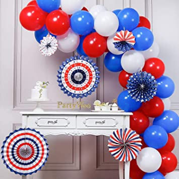 PartyWoo Red White Blue Balloon, 66 pcs 12 Inch Red Balloons, White Balloons, Royal Blue Balloons, Paper Fans for American Party Decorations, Red ...