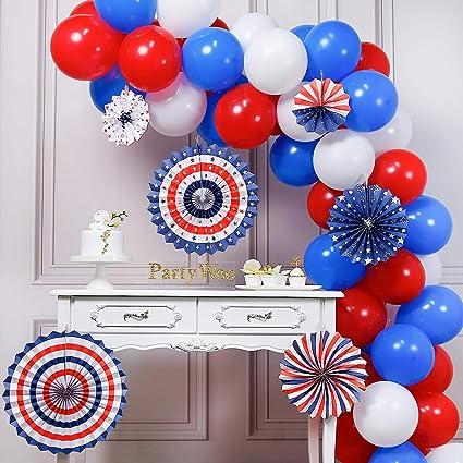 Amazon.com: PartyWoo - Globos rojos, azules y blancos, 66 ...