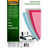 Fellowes 5376102 Copertine per Rilegatura in PVC Trasparente, Formato A4, 200 Micron, Confezione da 100 Pezzi