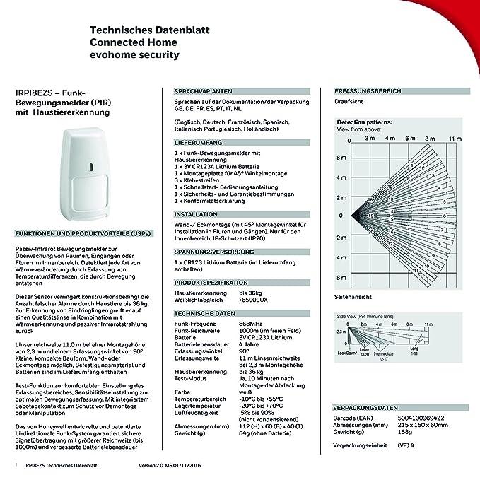 Honeywell Irpi8Ezs Detector de Movimiento Inalámbrico, Color Blanco: Honeywell: Amazon.es: Bricolaje y herramientas