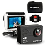 "4K Action Camera, Bopower 60fps WIFI Sport Anti-Shake Waterproof Camcorder with 2.4G RF Remote, Full HD 2.0""Display, 170 degree Ultra Wide Lens, 2Pcs 1050mah Batteries, Ton of Accessories"