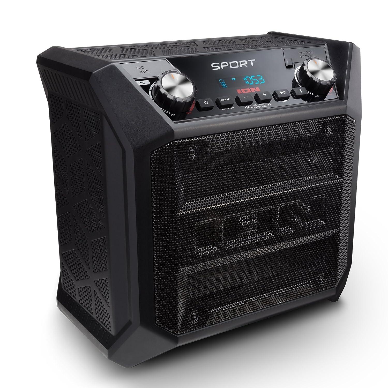 ION Audio Sport - Altavoz de 50W Resitsente a Cualquier Tipo de Clima, Batería Recargable Larga Duración, Resistente al Agua IPX4, Bluetooth, Puerto de Carga USB, Entrada Auxiliar, Radio FM y Micrófono InMusic Europe Limited