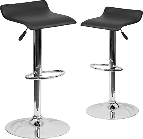 Flash Furniture 2 Pk. Contemporary Black Vinyl Adjustable Height Barstool with Solid Wave Seat and Chrome Base