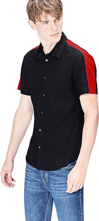 Marca Amazon - Camisa de Manga Corta Slim Fit con Banda Deportiva para Hombre, Negro (Black), XXL, Label: XXL: Amazon.es: Ropa y accesorios