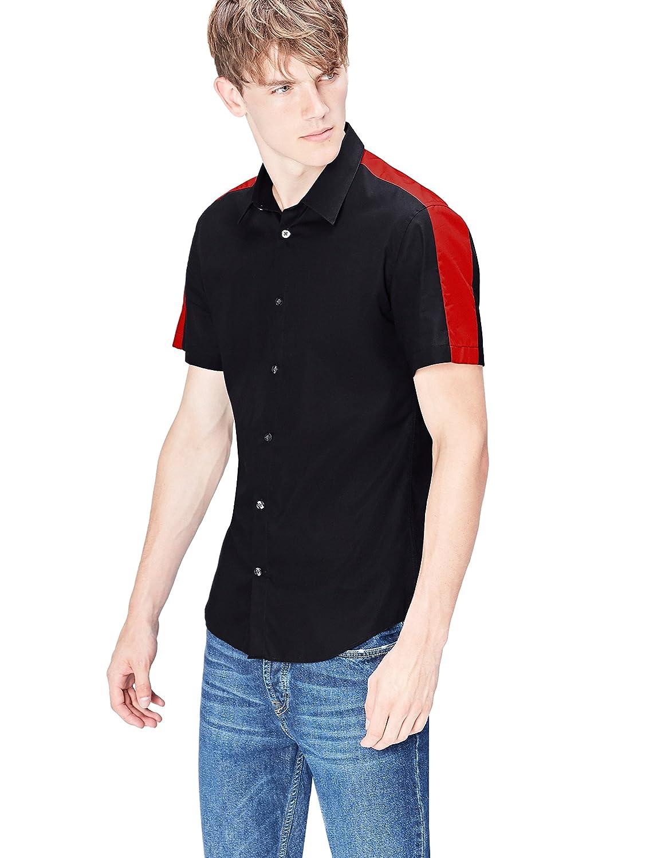 FIND Camicia Slim Fit con Inserti a Contrasto Uomo 628625