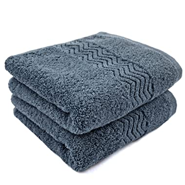 Cleanbear 100% Cotton Hand Towels, Highly Absorbent, Set of 2 (Blue-Grey), 13 x 28 Inches