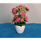 Kundi Artificial Plant Potted Plants Simulation Flower Bonsai Office Home Interior Coffee Table Decoration Arrangement (Height - 10 inch) (Random Color Will Be Shipped)