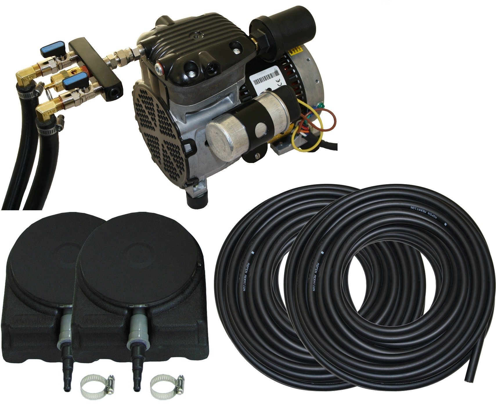 Complete Pond Aeration Kit | Rocking Piston Aerator + 200' of Weighted Tubing + 2 Diffusers (1/4 Hp, No Cabinet) by Aspen Aeration Systems