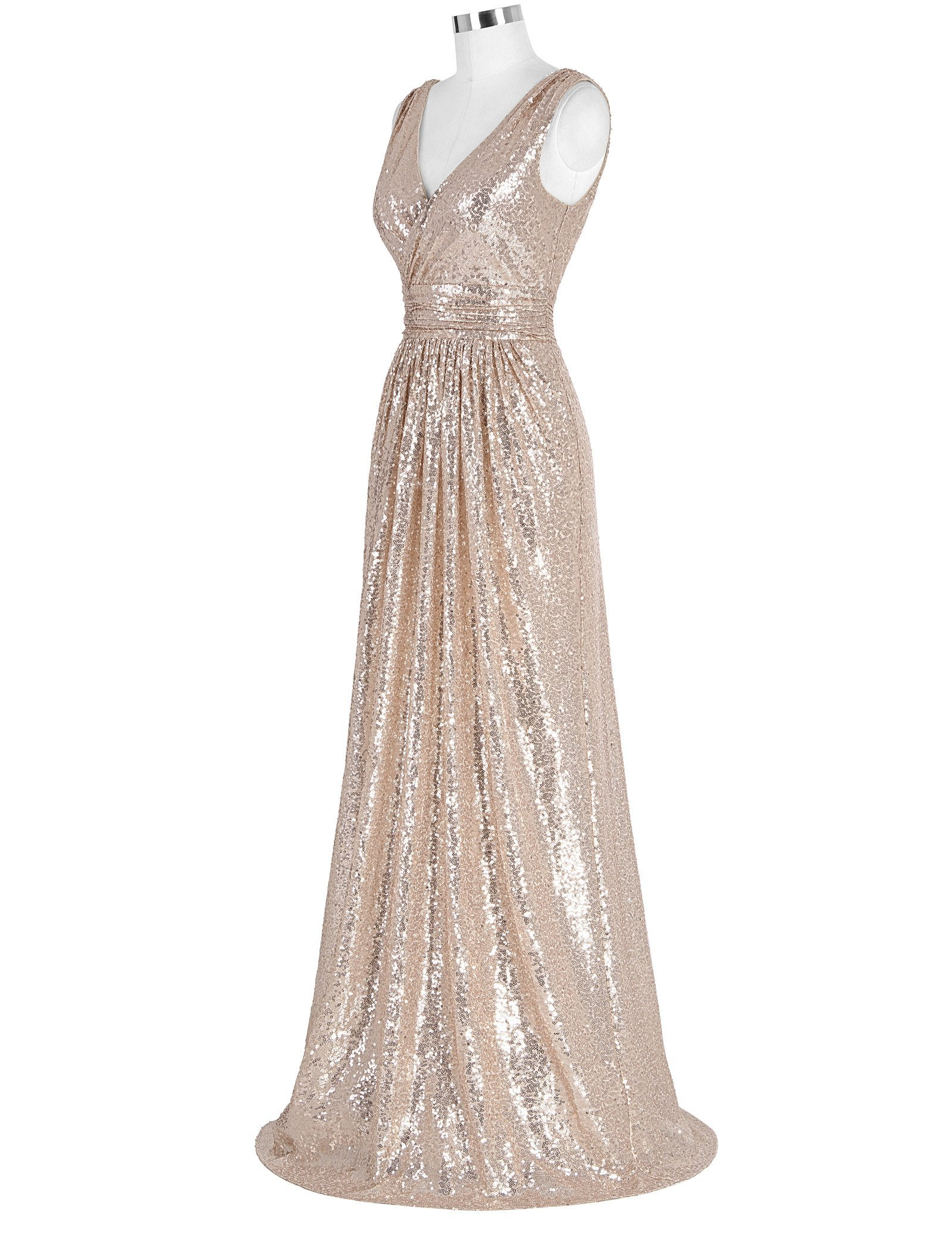 Kate Kasin Sexy Low Cut Long Prom Dress Sequin Bridesmaid Wedding Dress Size 8 KK199