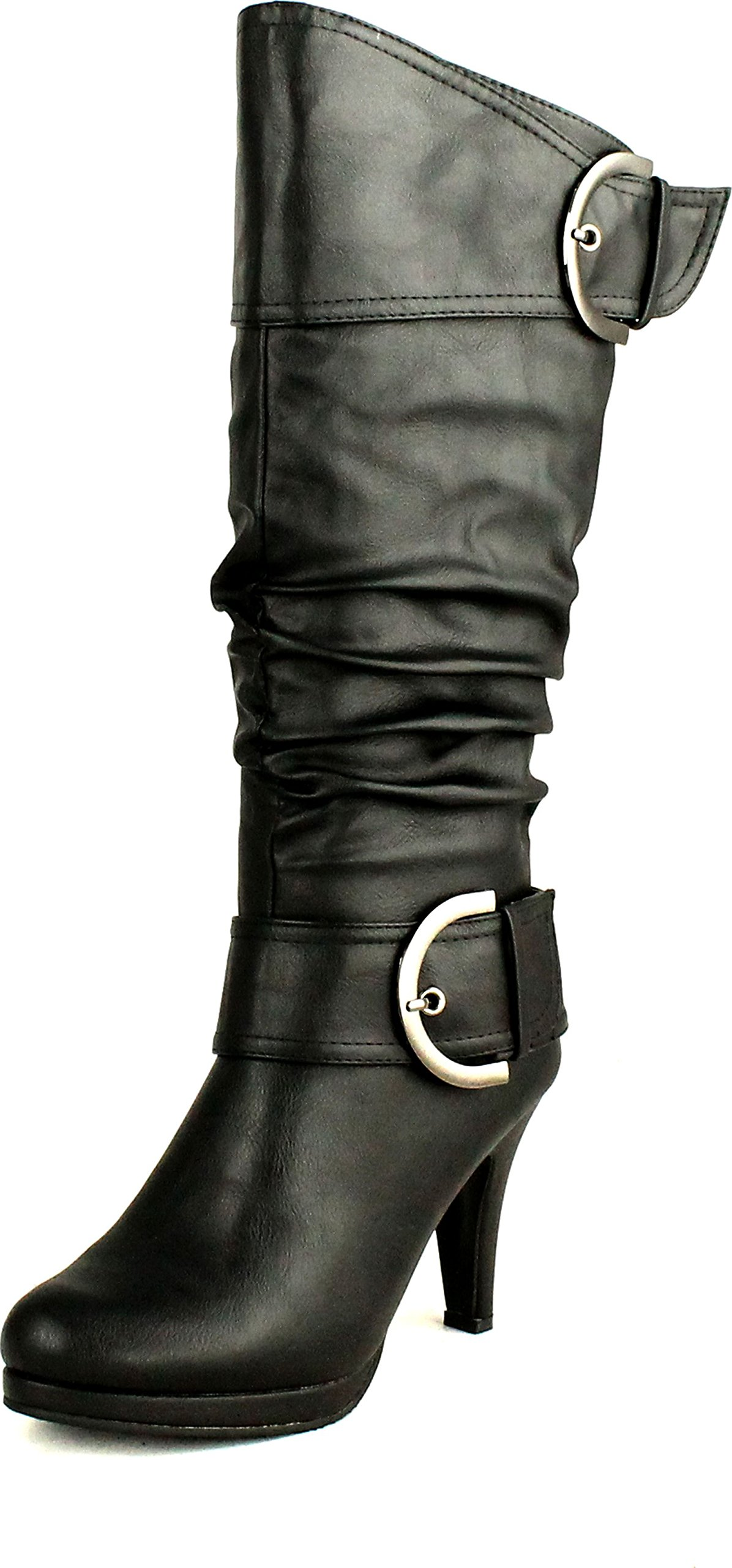 Top Moda Womens Page-22 Knee High Round Toe Buckle Slouched Low Heel Boots,Black,5