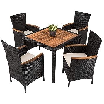 Amazonde Estexo Polyrattan Akazienholz Sitzgruppe Modell Kist