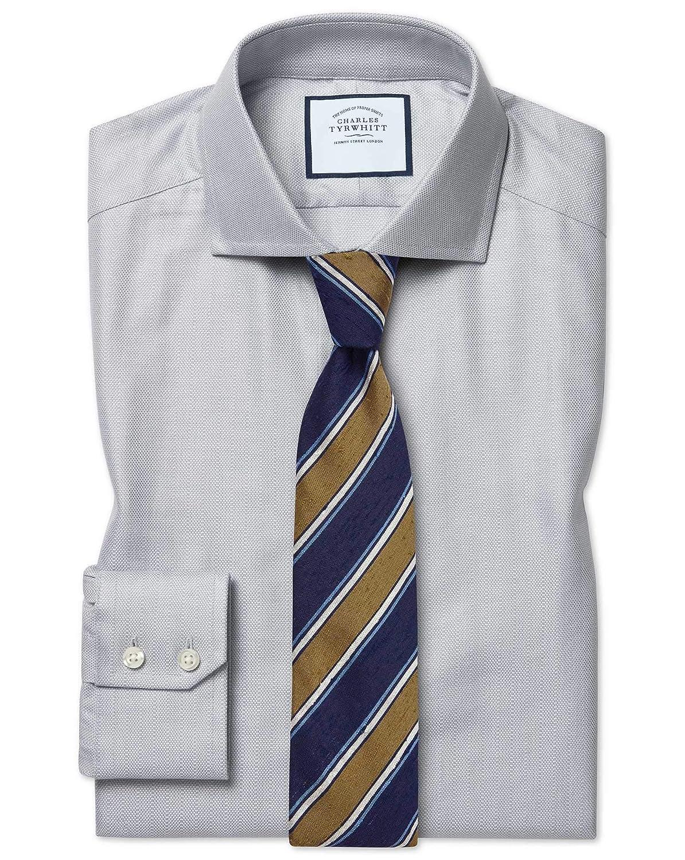 Chemise à Col Cutaway En Coton Stretch Avec Tencel grise Extra Slim Fit   gris (Poignet Simple)   17   35