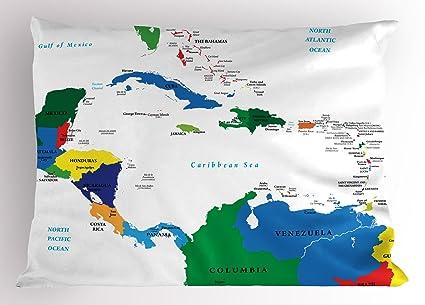Mapa almohada Sham por Ambesonne, América Central y el Caribe islas mapa Países ciudades nombres