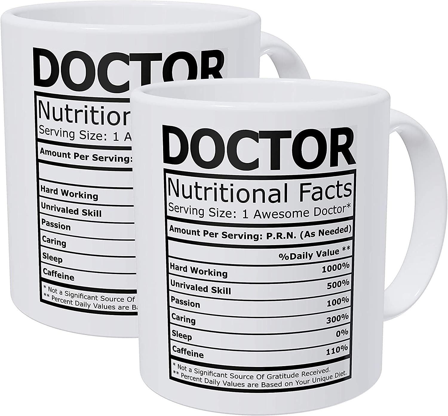 Willcallyou Pack of 2 Doctor Nutritional Facts Nutritional Facts 11 Ounces Funny White Coffee Mug