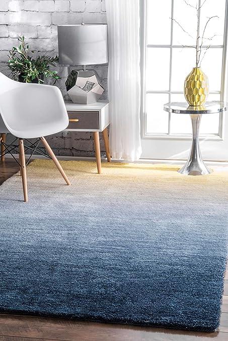 Modern Shaggy Area Rug Ombre Navy Blue Yellow Shag Rug Carpet Floor Mat  Soft Fluffy Rug