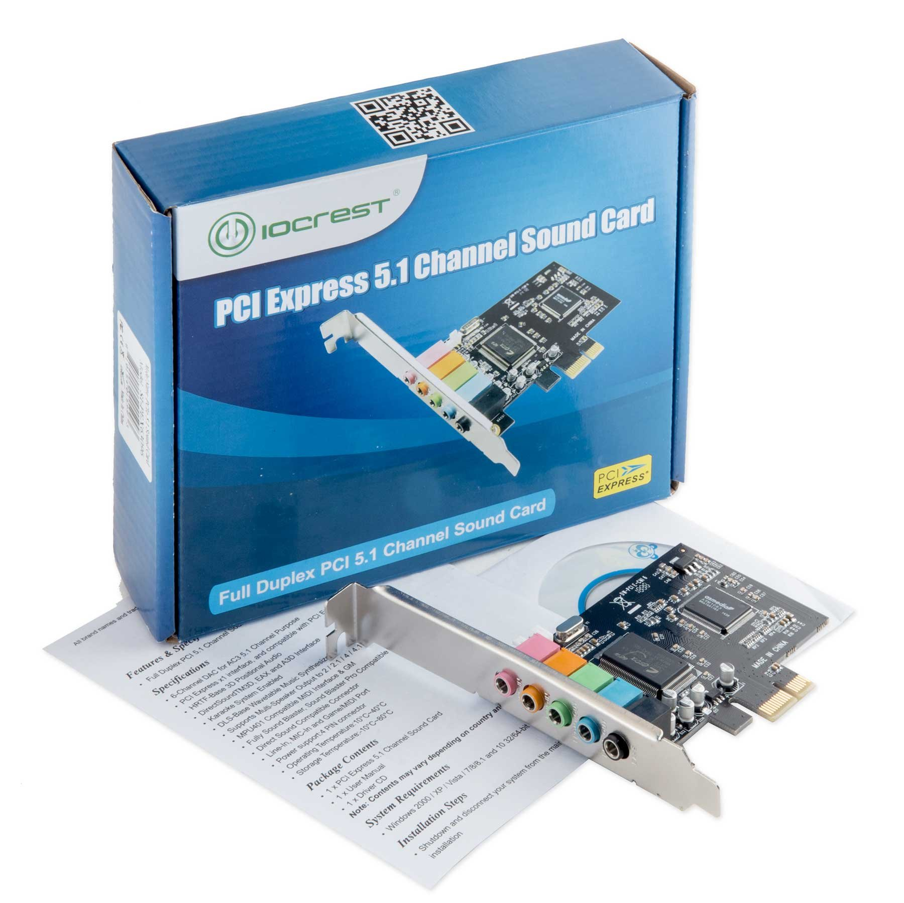 Syba IO Crest 5.1 Channel PCIe X1 Sound Card Sound Cards SI-PEX63096 by Syba (Image #5)