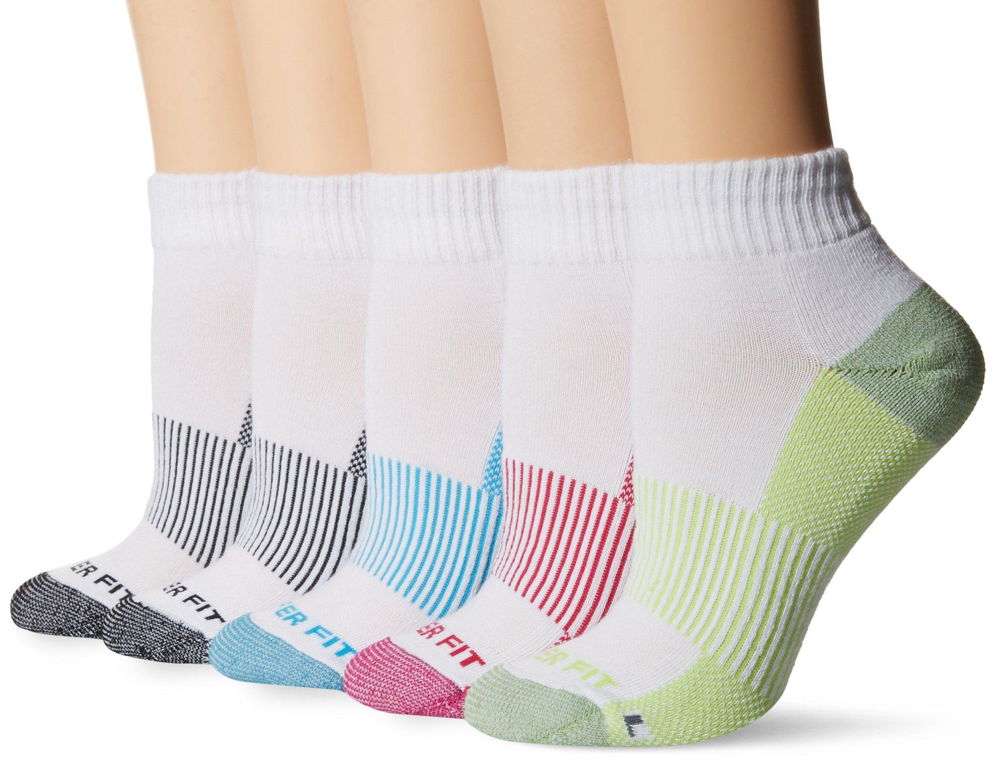 Copper Fit Women's 5PK Quarter Length Socks, White, 9/11