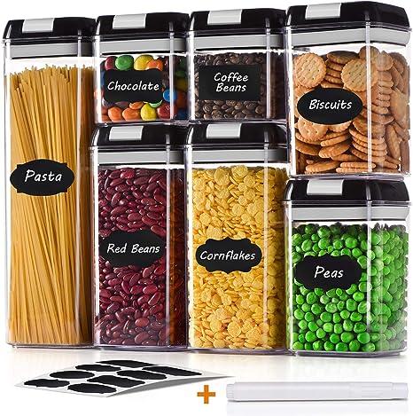 Pastas 7Piezas Tarro de Almacenamiento Herm/ética con Tapa Plasico Juegos de Recipientes para Cereales,Botes Cocina de Alimentos,Sin BPA,para Harina caf/é