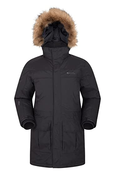 6ae3b3d37 Mountain Warehouse Antarctic Extreme Down Mens Jacket - Adjustable Waist,  Waterproof Rain Coat, Quick Drying & Breathable Winter Coat – Ideal Outer  ...