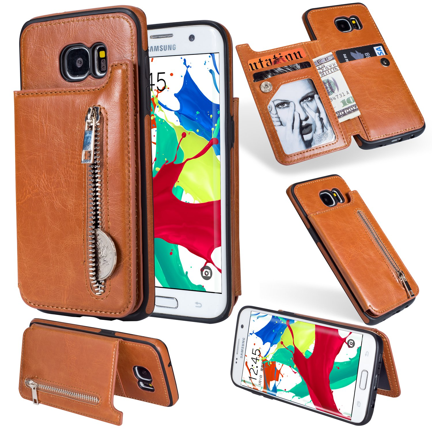 Ostop Wallet Case for Samsung Galaxy S7,Black PU Leather Stand Case, Credit Card Holder Zipper Purse Slim Fit Magnetic Clasp Flip Folio Cover with Cash Pocket Soft TPU Bumper Shell