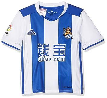 Adidas BG9561 - Camiseta oficial de fútbol para niños, color Multicolor (Blanco/Azul), 164 cm: Amazon.es: Deportes y aire libre