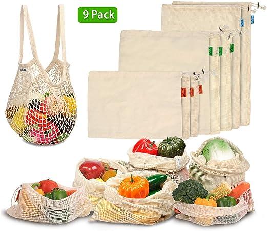 Viedouce Bolsas Compra Reutilizables, 9 PCS Bolsas de Malla Reutilizables Lavables, Bolsas de Algodon Reutilizables para Frutas Verduras,Reutilizable Producir Bolsas (3*S, 3*M, 2*L,1*XL): Amazon.es: Hogar