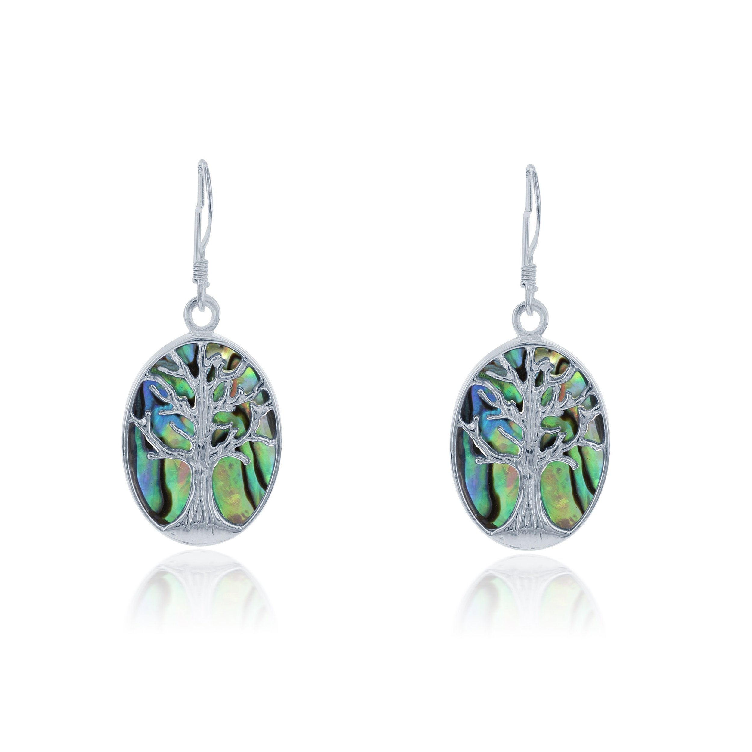 Sterling Silver Natural Abalone Stone Tree of Life Oval Dangle Earrings