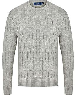 New Plain Mens Jumper Designer Sweatshirt Crew Neck Cable Knit Sweater Top S-XXL
